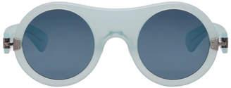 Blue Round Acetate Sunglasses