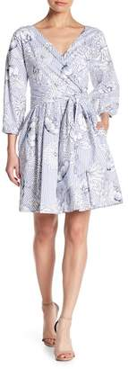 Alexia Admor Striped & Floral Print 3/4 Sleeve Dress