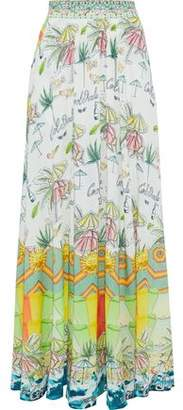 Camilla Sundowners Embellished Printed Woven Maxi Skirt
