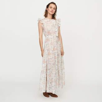 Maje Long floral-print ruffled dress
