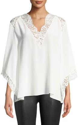 IRO Hawlk Silk Kimono-Sleeve Top with Lace