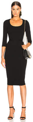 Victoria Beckham 3/4 Sleeve Scoop Neck Fitted Midi Dress