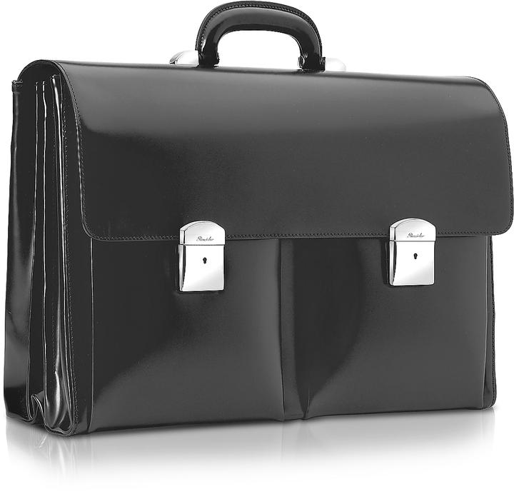 Pineider 1949 - Black Calfskin Triple Gusset Briefcase