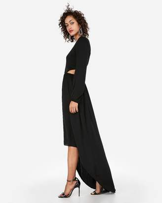 Express Satin Keyhole Cut-Out Hi-Lo Maxi Dress
