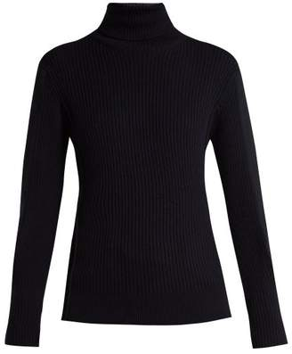 Chloé Roll Neck Ribbed Wool Sweater - Womens - Navy