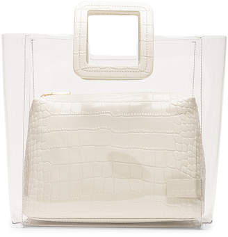 STAUD Shirley Bag in Cream & Croc | FWRD