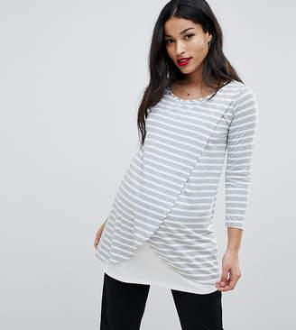 Bluebelle Maternity Nursing Wrap Front Stripe Jersey Top