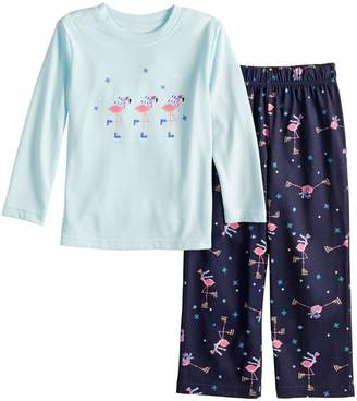 Flamingos Toddler Jammies For Your Families Skating Top & Bottoms Pajama Set