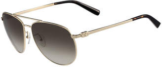 Salvatore Ferragamo Men's Gancio Metal Aviator Sunglasses