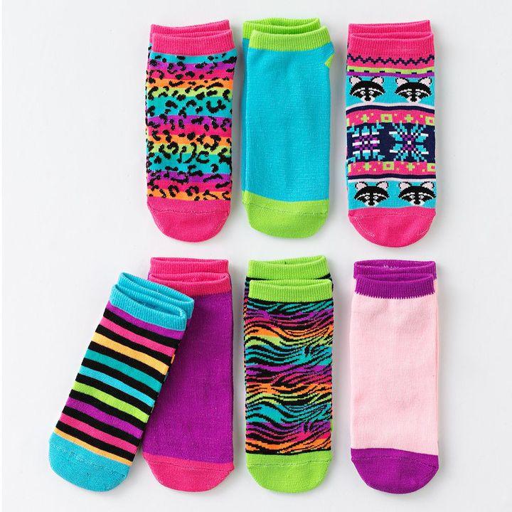 Pink Cookie 7-pk. raccoon fairisle patterned socks - girls