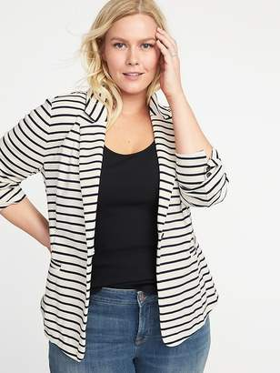 Old Navy Plus-Size Striped Ponte-Knit Blazer