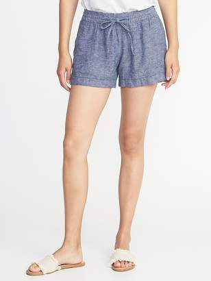 Old Navy Mid-Rise Linen-Blend Shorts for Women - 4 inch inseam