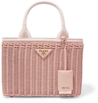 47480b99b157 Prada Giardiniera Canvas And Leather-trimmed Wicker Tote - Pink