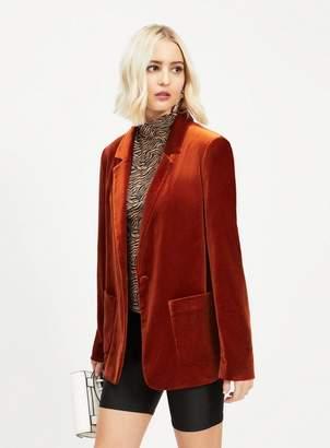 Miss Selfridge Rust velvet blazer