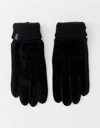 Esprit suede gloves with knitted panels in black