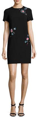 Trina Turk Dazzle Embellished Crepe Shift Dress, Black $348 thestylecure.com