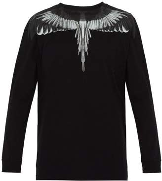 Marcelo Burlon County of Milan Wings Print Long Sleeved Cotton T Shirt - Mens - Black Silver