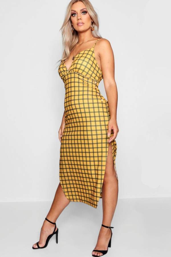boohoo Plus Button Check Print Midi Dress