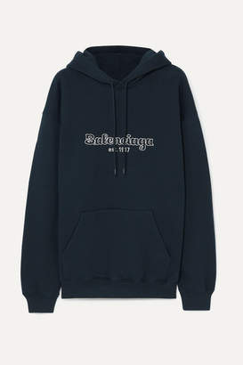 Balenciaga Embroidered Cotton-jersey Hoodie - Midnight blue