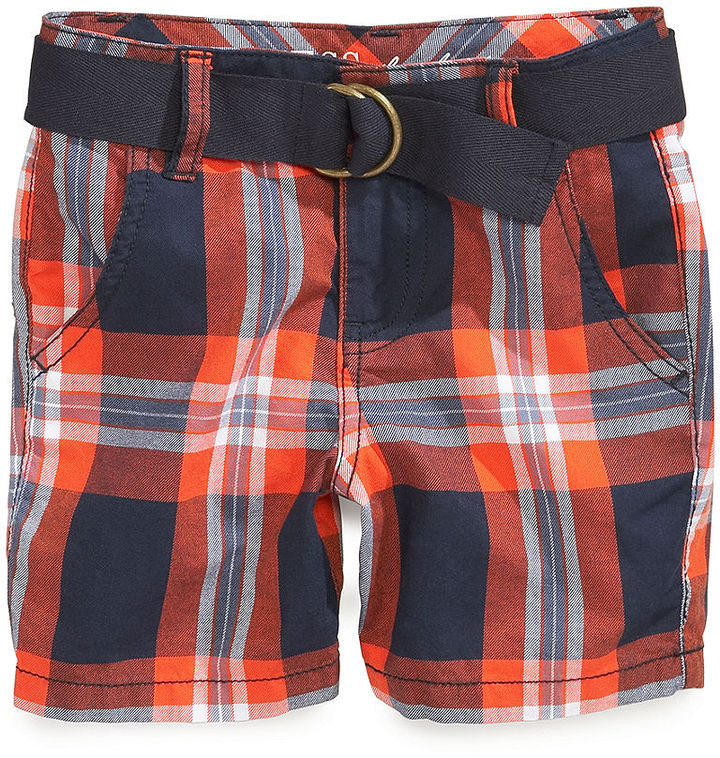 GUESS Boys' Belted Plaid Shorts