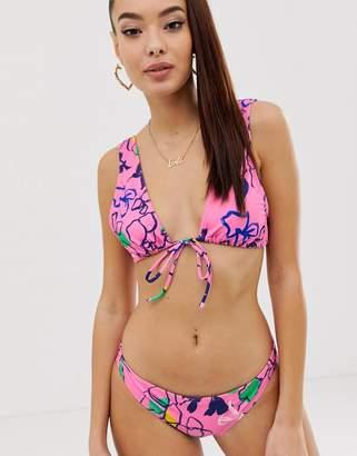 Asos DESIGN recycled deep plunge crop bikini top in pink outline floral sketch print