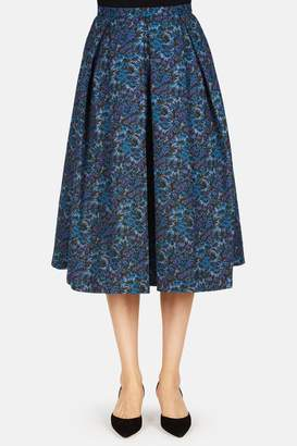 Erdem Ina Midi Length Skirt With Tucks - Blue/Multi