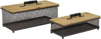 Uma Enterprises Set Of 2 Rectangular Gray Metal Mesh & Natural Wood Decorative Storage Boxes