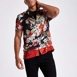 River Island Mens Black floral and animal print revere shirt