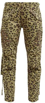 MHI Leopard And Camo Print Cotton Twill Cargo Trousers - Womens - Leopard