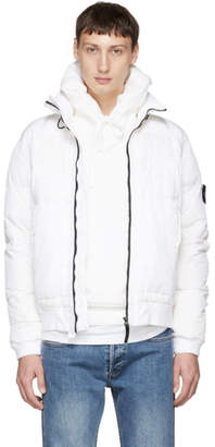 Stone Island White Down Bomber Jacket