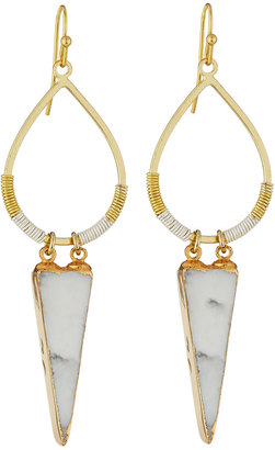 Nakamol Golden Howlite Triangle Statement Drop Earrings $45 thestylecure.com