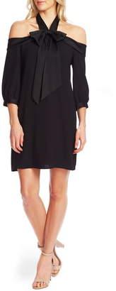 CeCe Cold Shoulder Halter Neck Babydoll Dress
