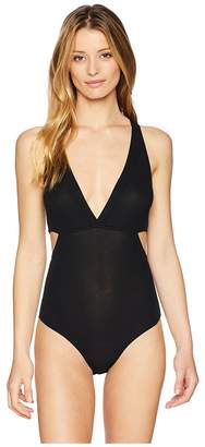 Only Hearts Feather Weight Rib V-Neck Cut Out Bodysuit Women's Jumpsuit & Rompers One Piece