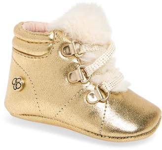Jessica Simpson Faux Fur Metallic Crib Sneaker