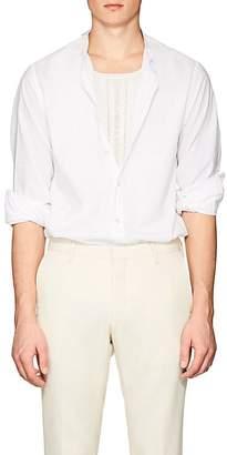 Officine Generale Men's Banded-Collar Cotton Voile Shirt