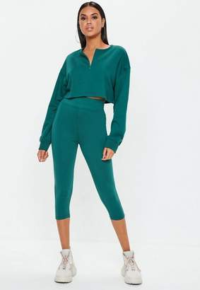 Missguided Petite Teal Zip Front Crop Sweatshirt