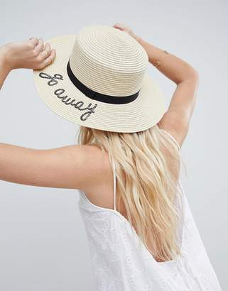 Asos DESIGN Straw Boater with Go Away Slogan and Size Adjuster
