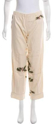 Marni Mid-Rise Embroidered Pants w/ Tags olive Mid-Rise Embroidered Pants w/ Tags