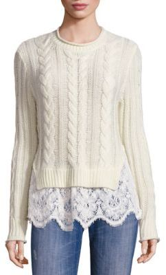Love Sam Lace Hem Wool & Cashmere Sweater $395 thestylecure.com
