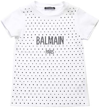 Balmain Embellished Cotton Jersey T-shirt