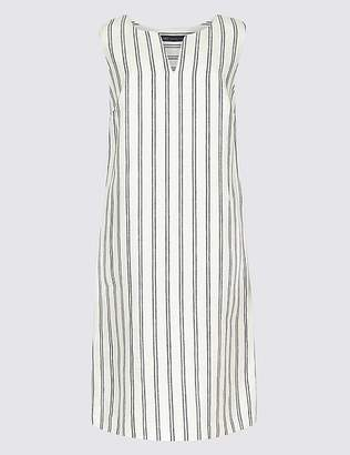 Marks and Spencer Pure Linen Striped Tunic Dress