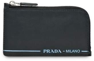 Prada logo print credit card holder