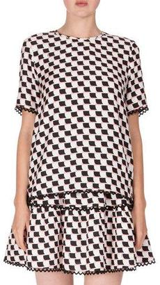 Kenzo Silk Jacquard Scalloped Check Top, White $345 thestylecure.com