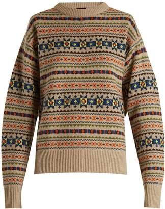 Slit-sleeve fair-isle knit sweater
