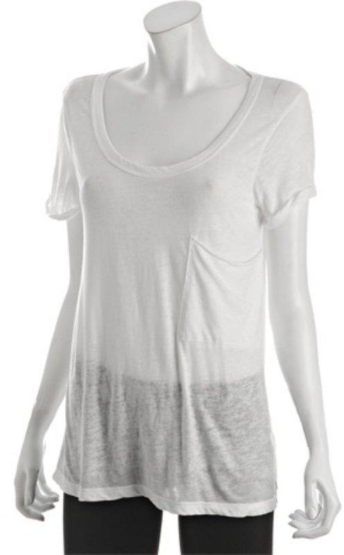 Fluxus white burnout scoopneck pocket boyfriend t-shirt