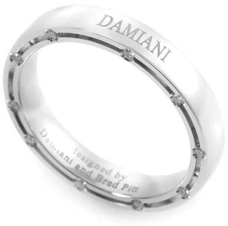 Damiani Brad Pitt 18K White Gold & 0.18ct. Diamond Band Ring Size 6.75