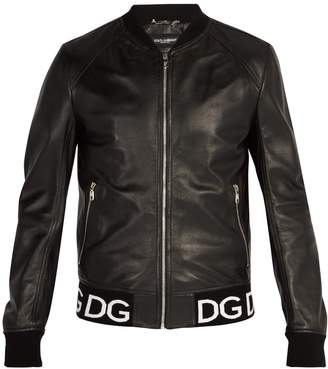 Dolce & Gabbana Logo-trim leather bomber jacket