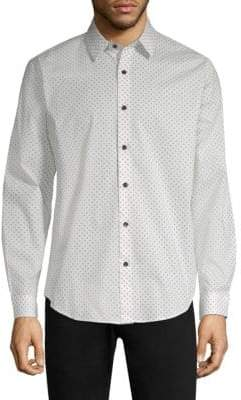 Theory Mini Dot Stretch Cotton Shirt