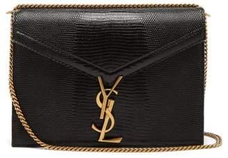 Saint Laurent Cassandra Lizard Effect Cross Body Bag - Womens - Black