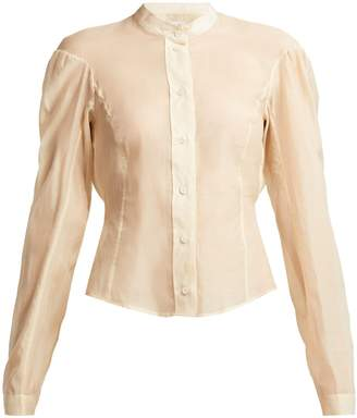 Lemaire Cotton and silk-blend panelled blouse